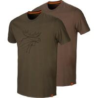 Härkila Graphic T-Shirt 2-Pack green/brown Herren...