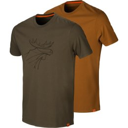 Härkila Graphic T-Shirt 2-Pack green/clay Herren